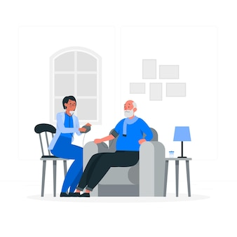 Ilustração do conceito de médico em casa