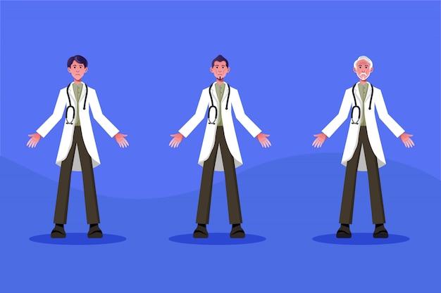 Ilustração do conceito de médicos (um conjunto de desenhos de personagens para médicos do sexo masculino de todas as idades)