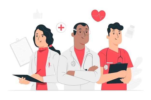 Ilustração do conceito de médicos