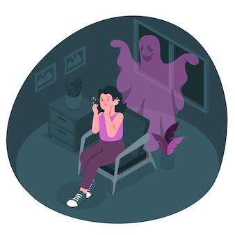 Ilustração do conceito de medo
