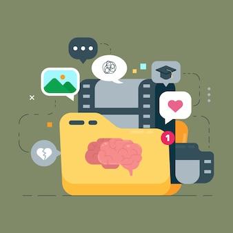 Ilustração do conceito de memórias pessoais