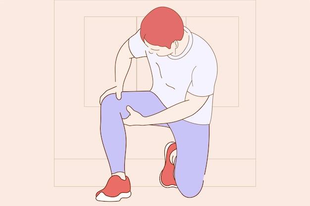 Ilustração do conceito de menino jovem com dor no joelho Vetor Premium