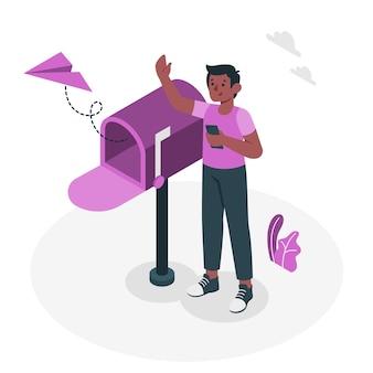 Ilustração do conceito de mensagem enviada