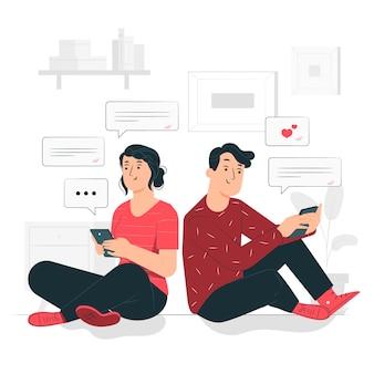 Ilustração do conceito de mensagens de texto