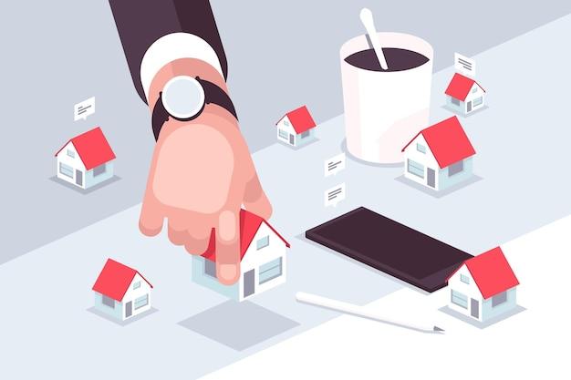 Ilustração do conceito de mercado imobiliário