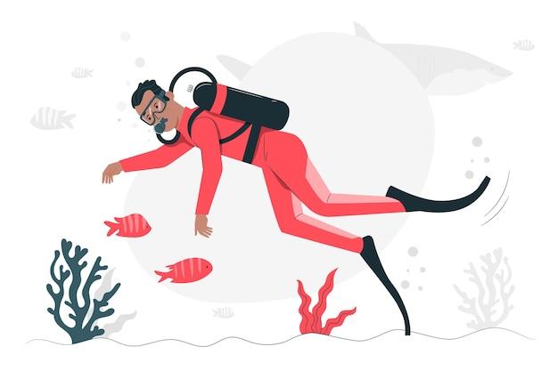 Ilustração do conceito de mergulho
