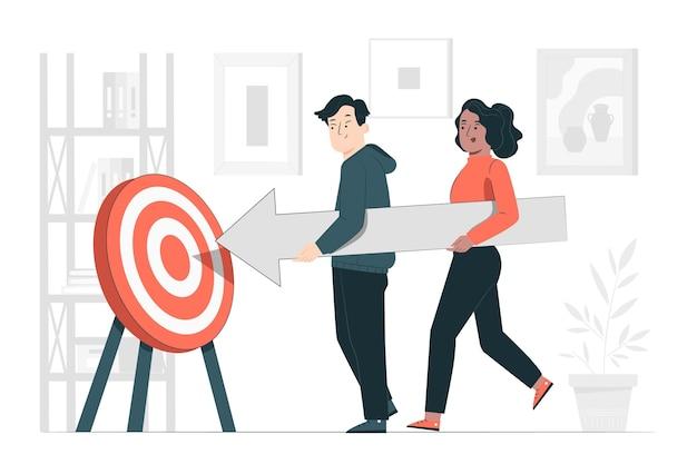 Ilustração do conceito de metas compartilhadas