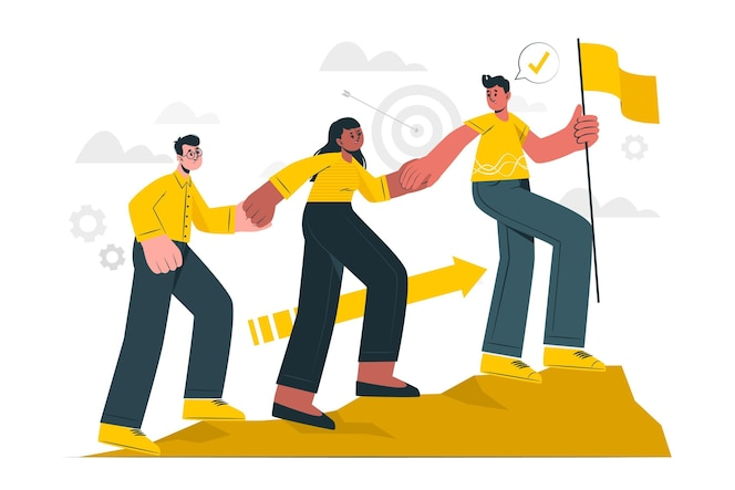 Ilustração do conceito de metas de equipe