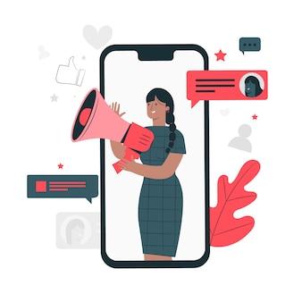 Ilustração do conceito de mídia social