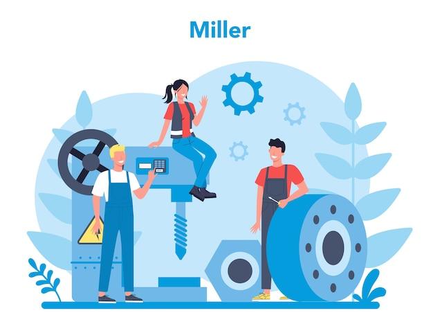 Ilustração do conceito de miller e fresagem