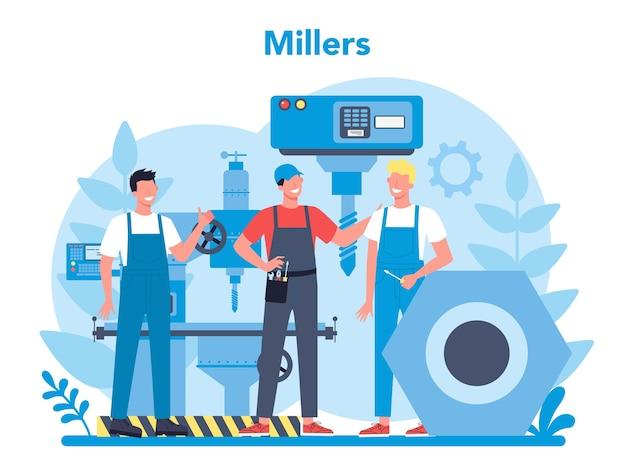 Ilustração do conceito de miller e moagem. engenheiro de perfuração de metal com fresadora, fabricação de detalhes. tecnologia industrial. ilustração em vetor plana isolada