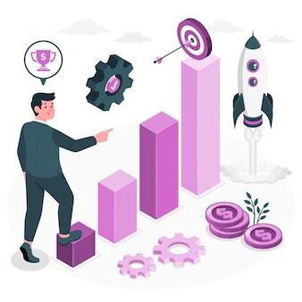 Ilustração do conceito de missão empresarial
