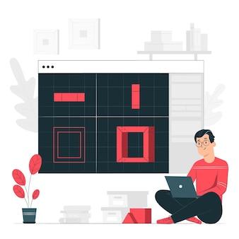 Ilustração do conceito de modelagem 3d