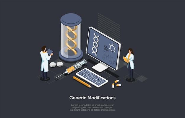 Ilustração do conceito de modificações genéticas no estilo dos desenhos animados 3d.