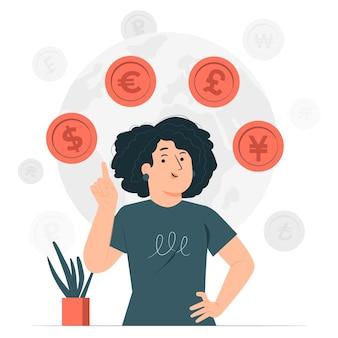 Ilustração do conceito de moeda Vetor grátis