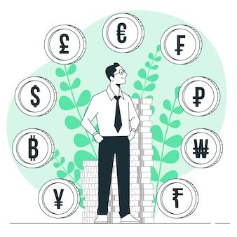 Ilustração do conceito de moeda