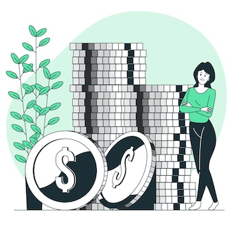 Ilustração do conceito de moedas