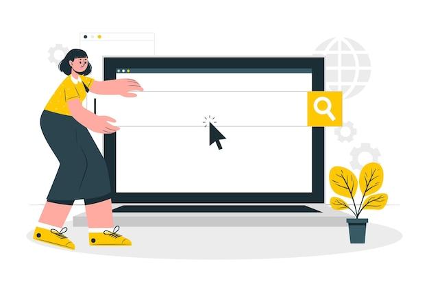 Ilustração do conceito de motores de busca