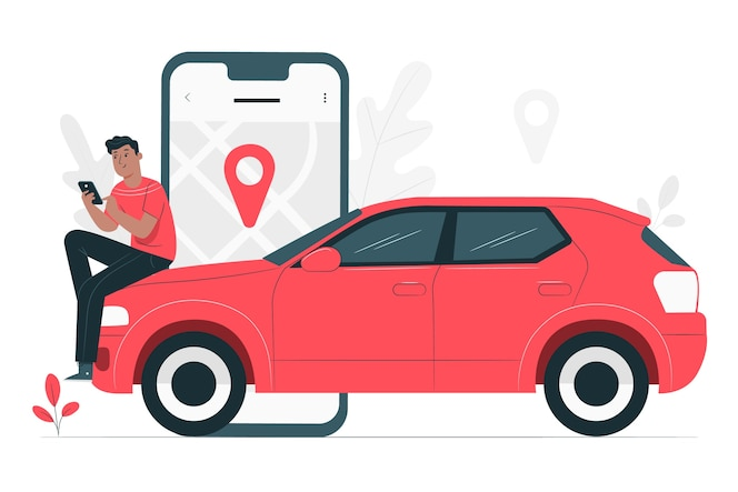 Ilustração do conceito de motorista de cidade