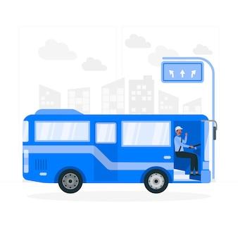 Ilustração do conceito de motorista de ônibus