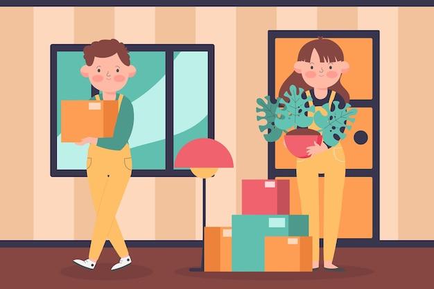 Ilustração do conceito de mudança de casa