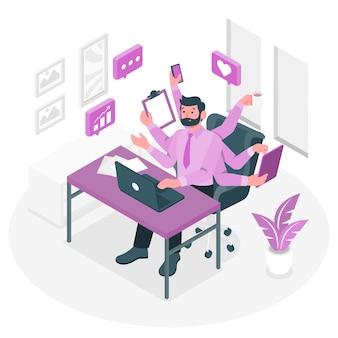 Ilustração do conceito de multitarefa