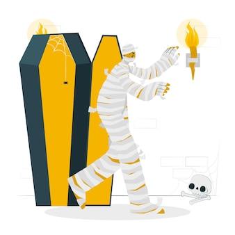 Ilustração do conceito de múmia saindo do caixão