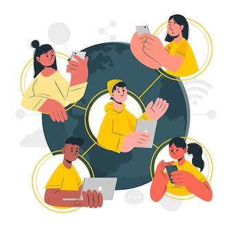 Ilustração do conceito de mundo conectado
