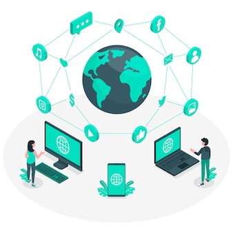 Ilustração do conceito de mundo on-line