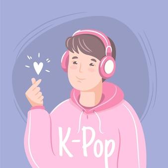 Ilustração do conceito de música k-pop
