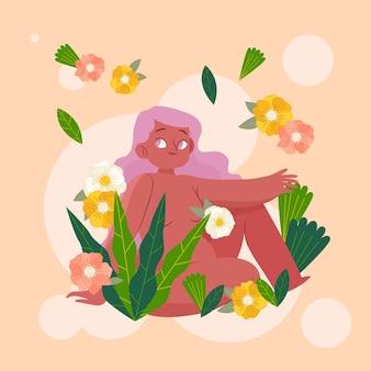 Ilustração do conceito de naturismo desenhada à mão