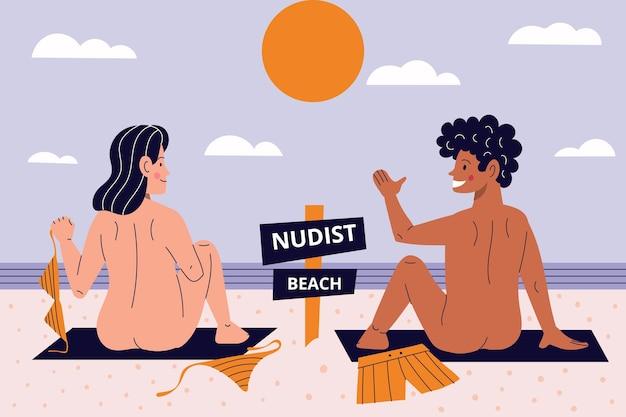 Ilustração do conceito de naturismo dos desenhos animados