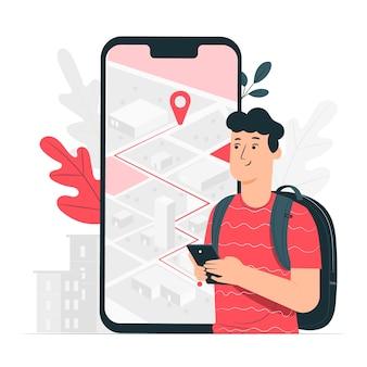 Ilustração do conceito de navegação