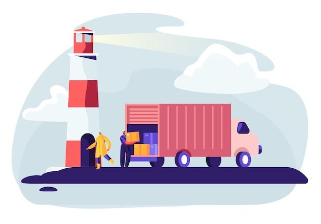 Ilustração do conceito de navio de contêiner de transporte logístico com caminhão industrial