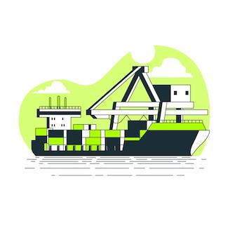 Ilustração do conceito de navio porta-contentores