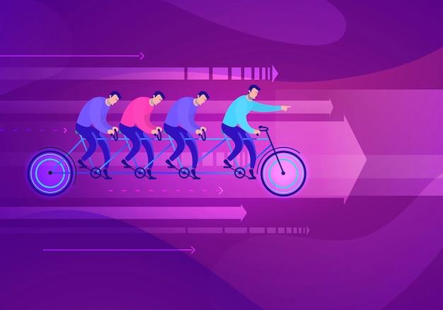 Ilustração do conceito de negócio da equipe sentada na bicicleta, trabalho em equipe