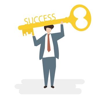 Ilustração do conceito de negócio de sucesso de avatar de pessoas