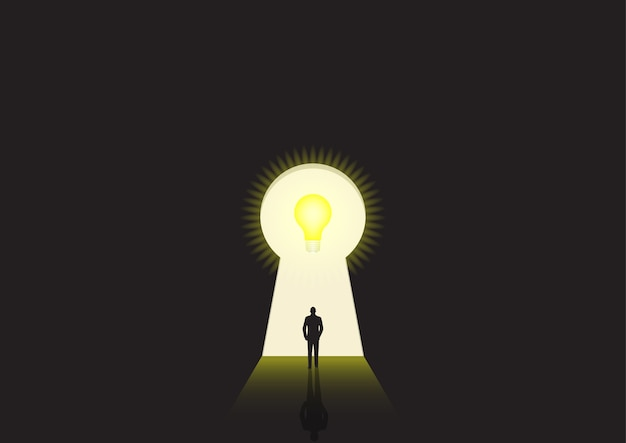 Ilustração do conceito de negócio de um empresário caminhando em direção a uma fechadura brilhante