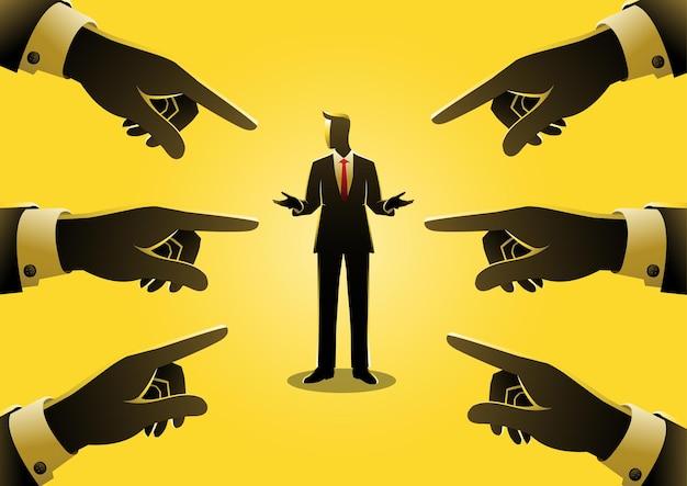 Ilustração do conceito de negócio de um empresário sendo apontado por dedos gigantes