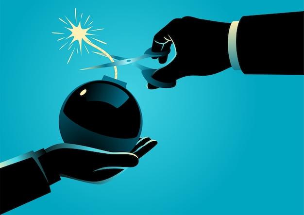 Ilustração do conceito de negócio de um homem dando uma bomba com um fusível aceso e outro homem tentando difundi-la cortando o fusível. grande problema e solução no conceito de negócio