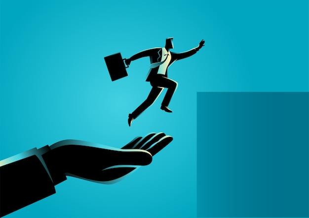 Ilustração do conceito de negócio de uma mão ajudando um empresário a pular mais alto