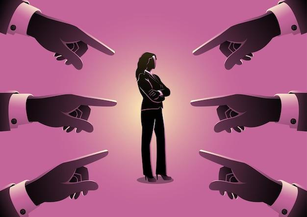 Ilustração do conceito de negócio de uma mulher de negócios sendo apontada por dedos gigantes