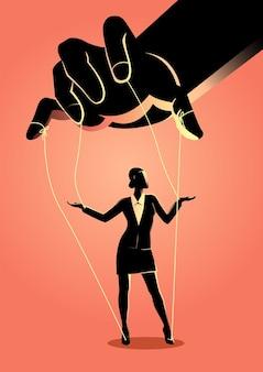 Ilustração do conceito de negócio de uma mulher de negócios sendo controlada pelo mestre de fantoches