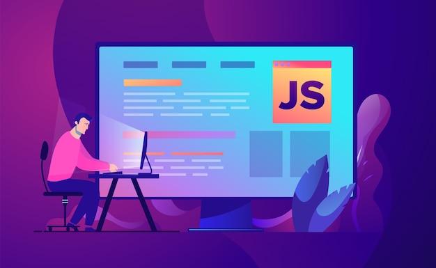 Ilustração do conceito de negócio desenvolvimento e codificação de programador da web.