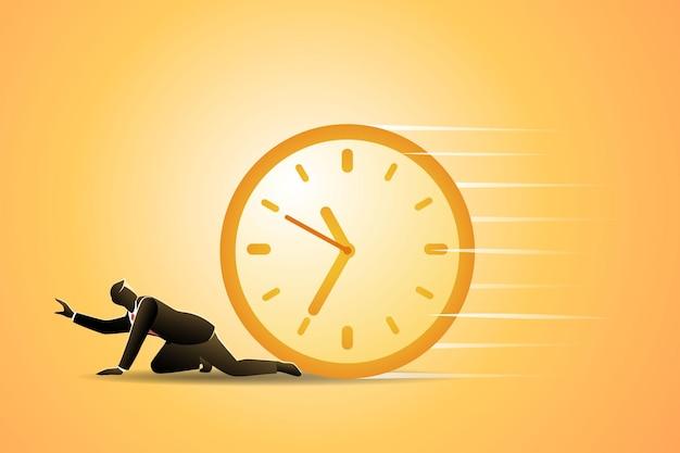 Ilustração do conceito de negócio, empresário atropelado pelo relógio de parede