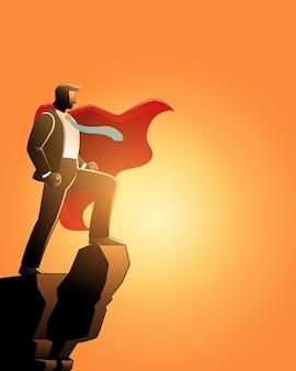 Ilustração do conceito de negócio, empresário como um super-herói no pico de uma montanha
