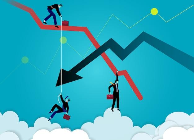 Ilustração do conceito de negócio. empresário de gráfico caindo e seta para baixo. gráfico de crise. falha nos negócios.