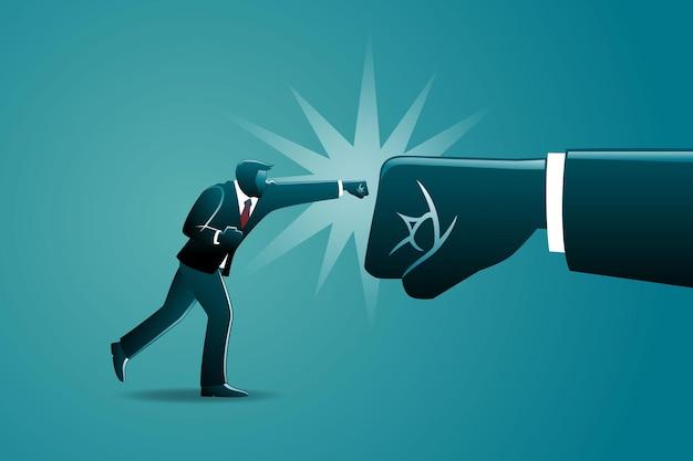 Ilustração do conceito de negócio, empresário socando um grande punho