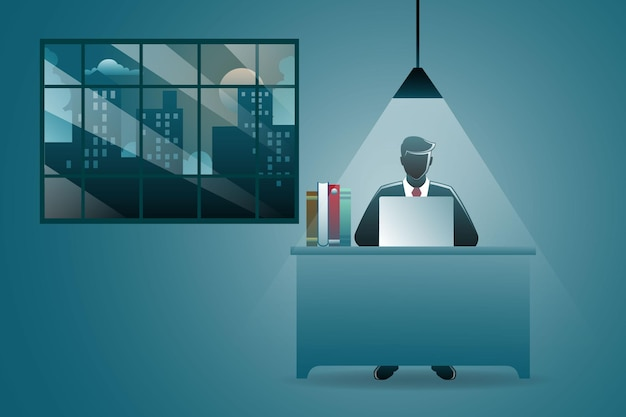 Ilustração do conceito de negócio, empresário trabalhando em casa com o laptop na mesa