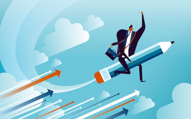 Ilustração do conceito de negócio, homem adequado andando em um lápis veloz